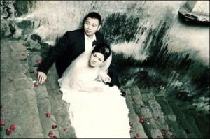 Casamiento instantes antes del terremoto de Sichuan, China